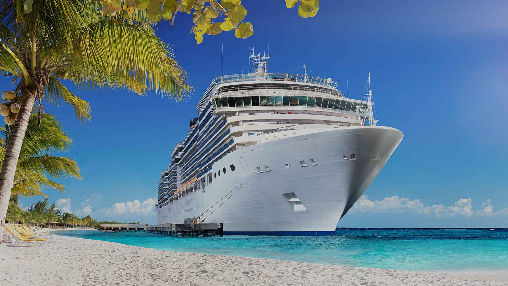 Cruise To Caribbean With Palm Trees - Tropical Beach Holiday - Image