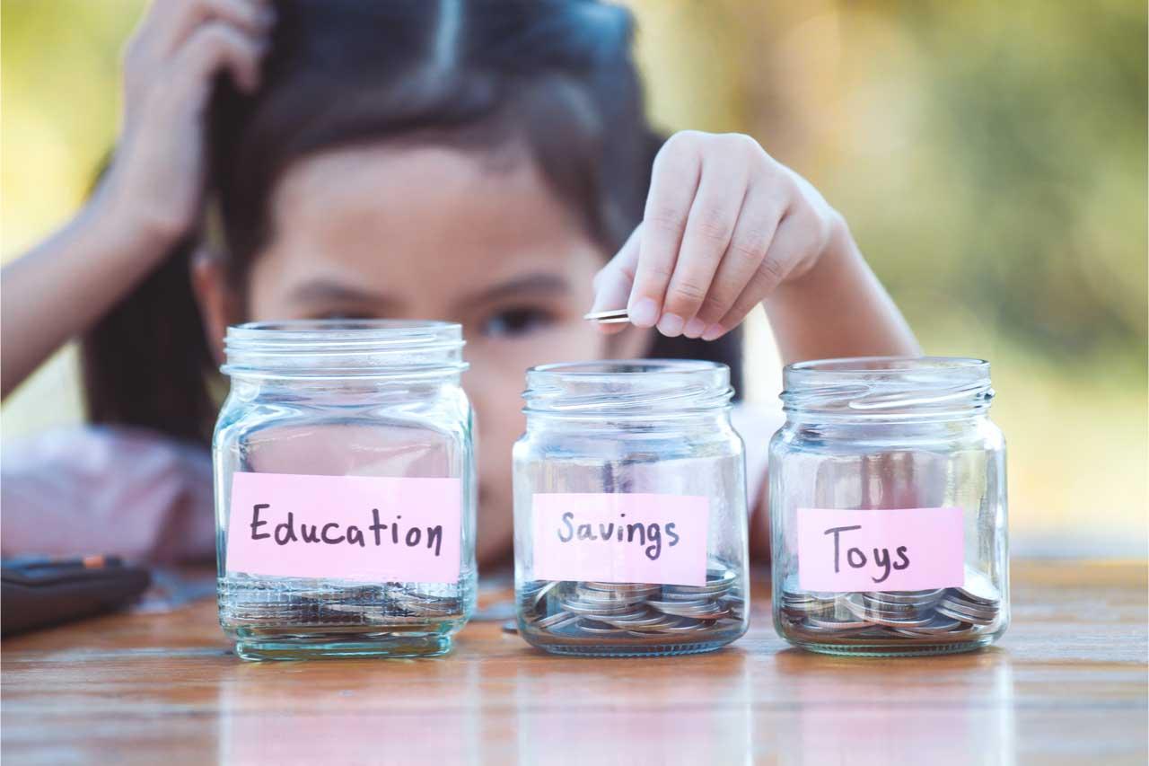 child saving some money